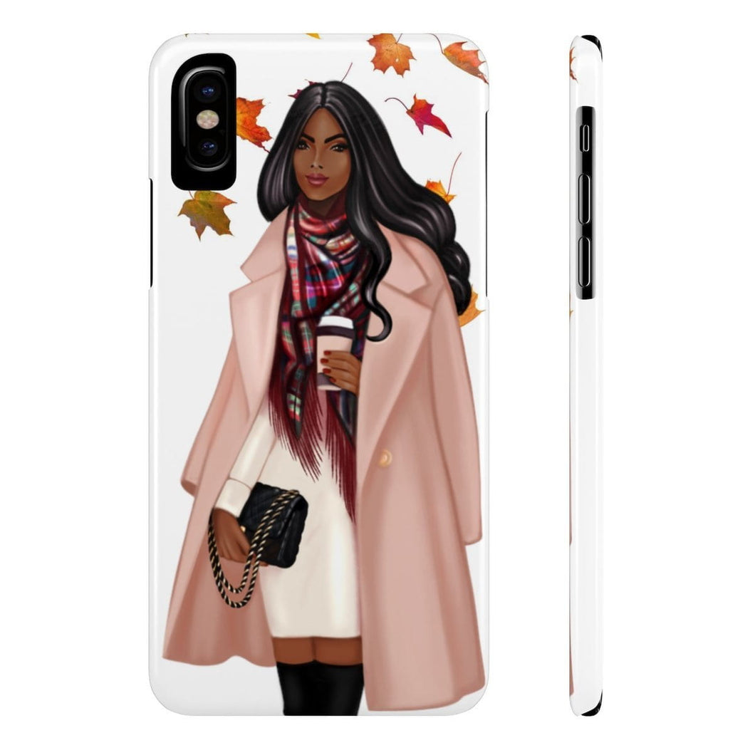 iPhone X Falling Leaves Dark Skin Black Hair Case Mate Slim Phone Cases