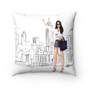 Pillow - Taxi! Light Skin Black Hair Faux Suede Square Pillow