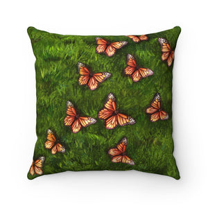 Pillow - Fields of Butterflies and Moss Faux Suede Square Pillow