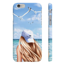 Load image into Gallery viewer, Beach Days Light Skin Blonde Hair iPhone Case - Protective Phone Cover - Planner Press Designs