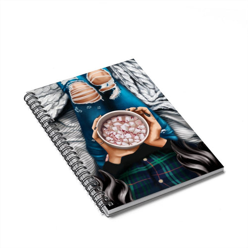 Winter Wishes Light Skin Black Hair Spiral Notebook - Ruled Line