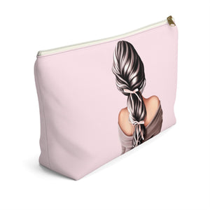 Bows In Her Hair Light Skin Black Hair Accessory Pouch with T-bottom - Pencil Case - Planner Press Designs