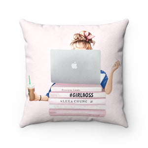 Pillowcase - Girl Boss Light Skin Blonde Hair Faux Suede Square Pillow