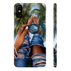 iPhone X Summer Beach Vibes Dark Skin Case Mate Slim Phone Cases