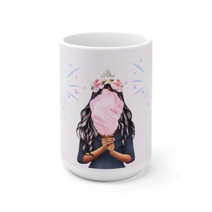 Cotton Candy Dreams Dark Skin Black Hair White Ceramic Mug - Planner Press Designs