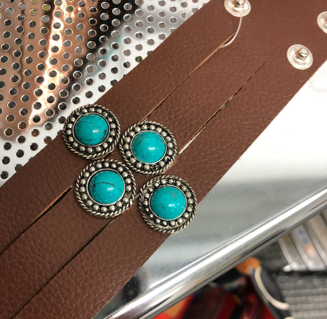 Leather and Turquoise Custom Cuff