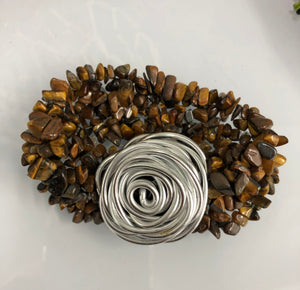 Silver Gem Brown Cuff