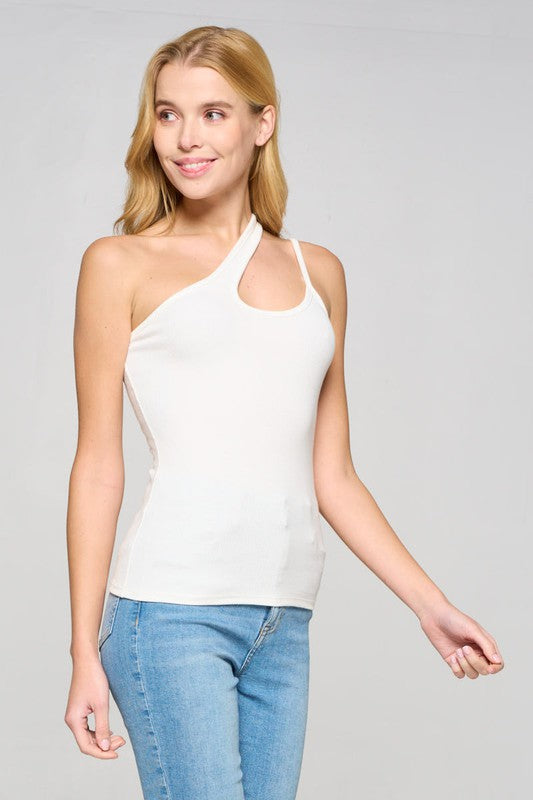 One Shoulder Ribbed Tank