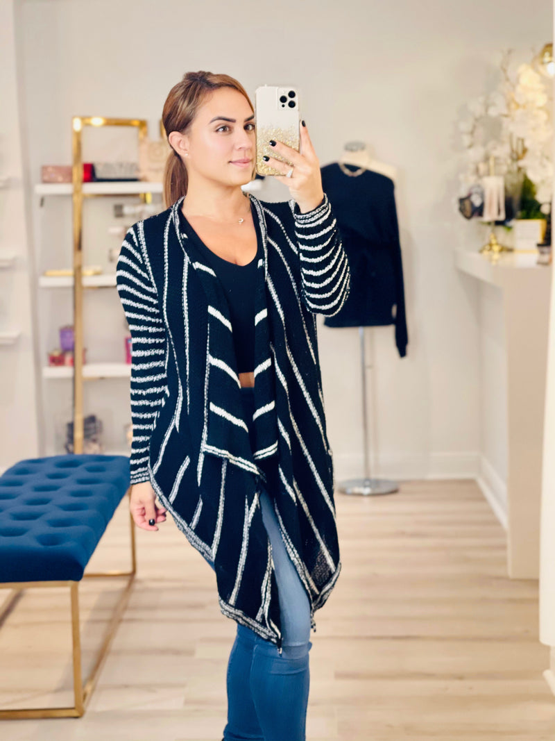Stripe Knit Wrap Cardigan