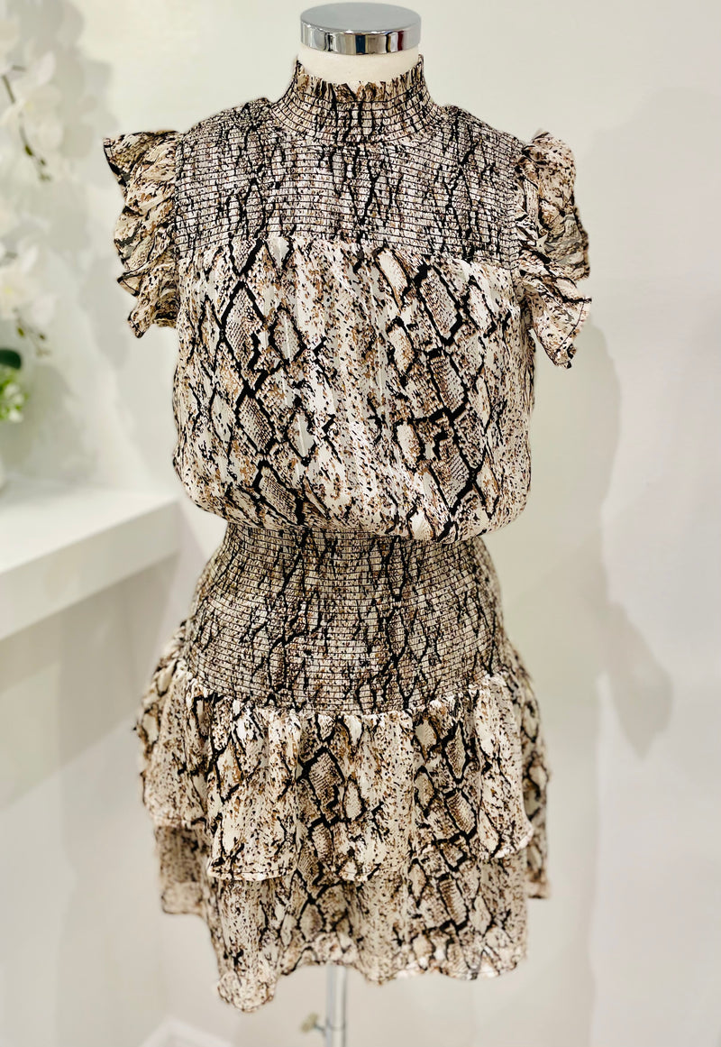 Snake Print Scrunch Dress