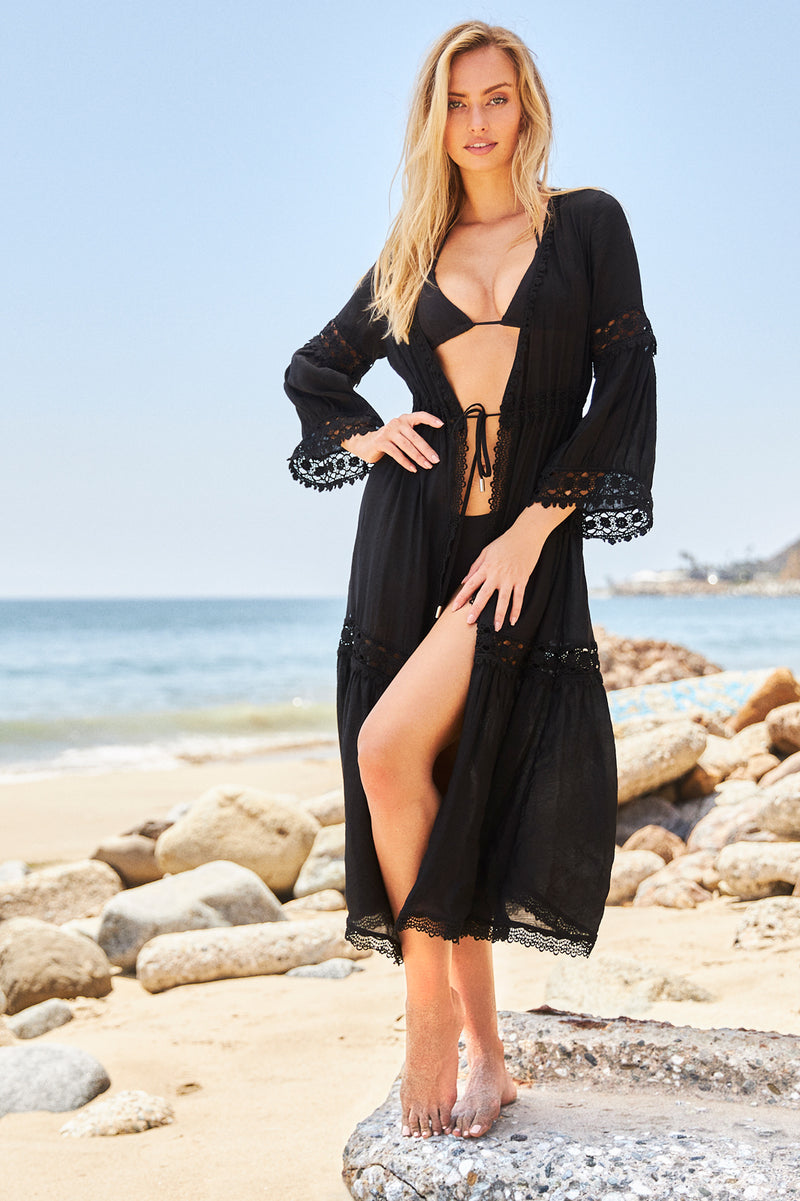 Calista Black Lace Detail Cover Up