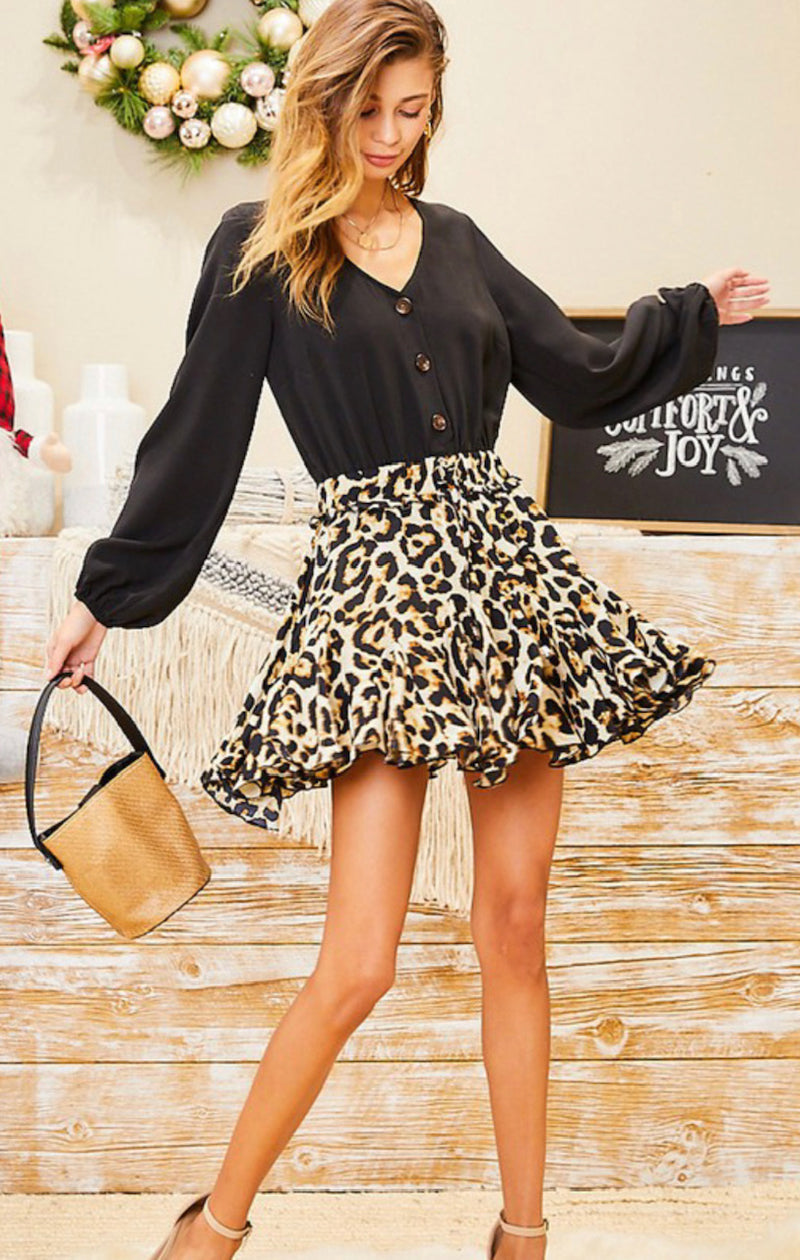 Emily V-Neck Button Down Cheetah Romper