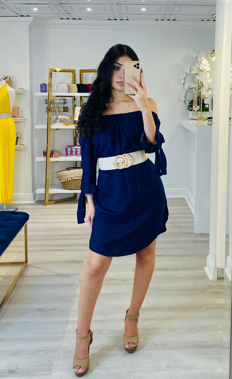 Off the Shoulder Navy Dress