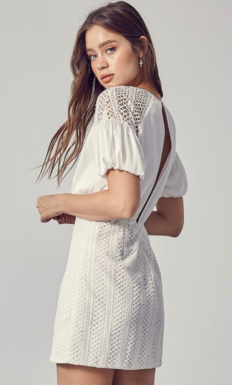Benni White Lace and Silk Dress