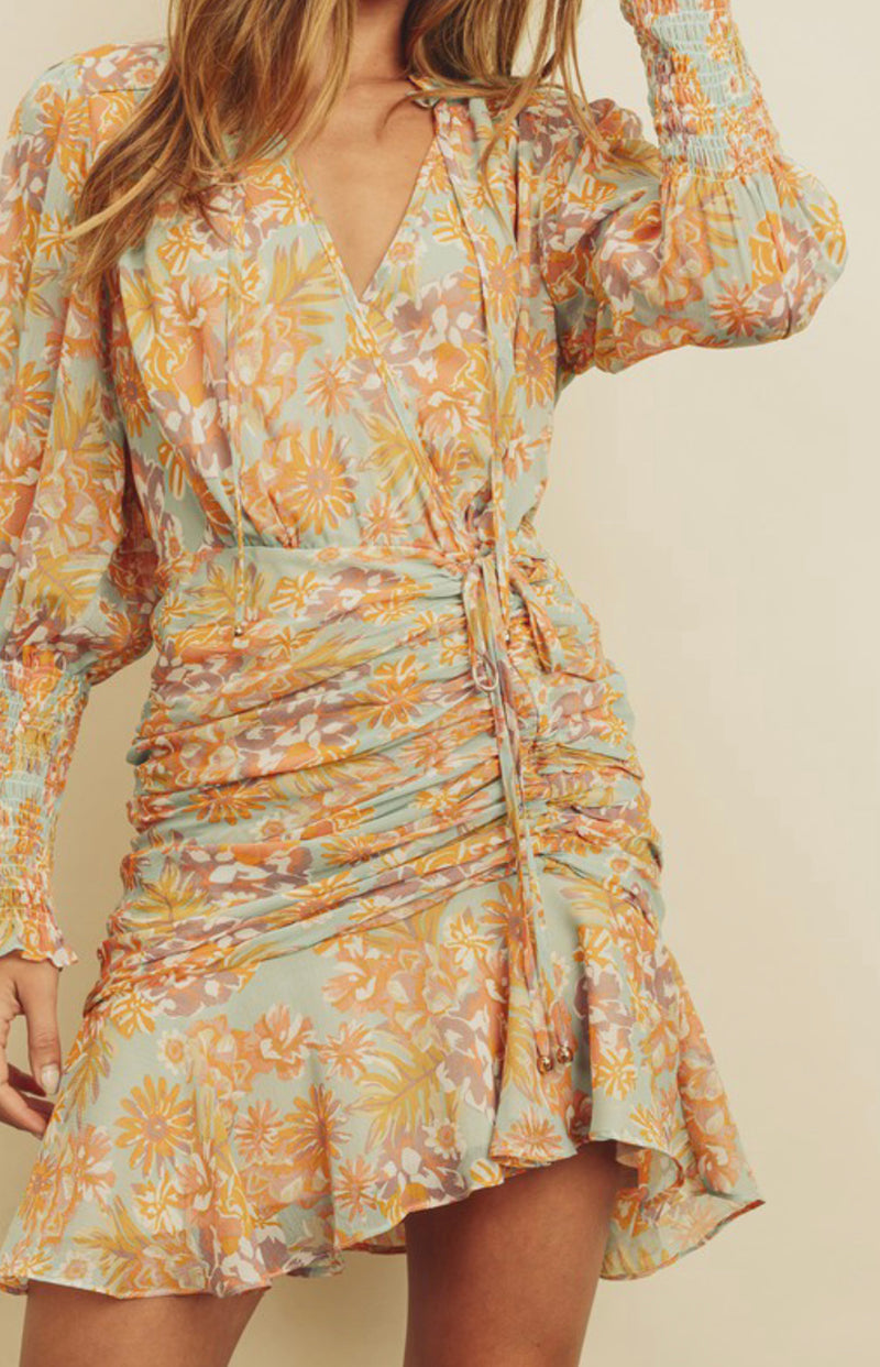 Mustard Floral Print Ruched Dress