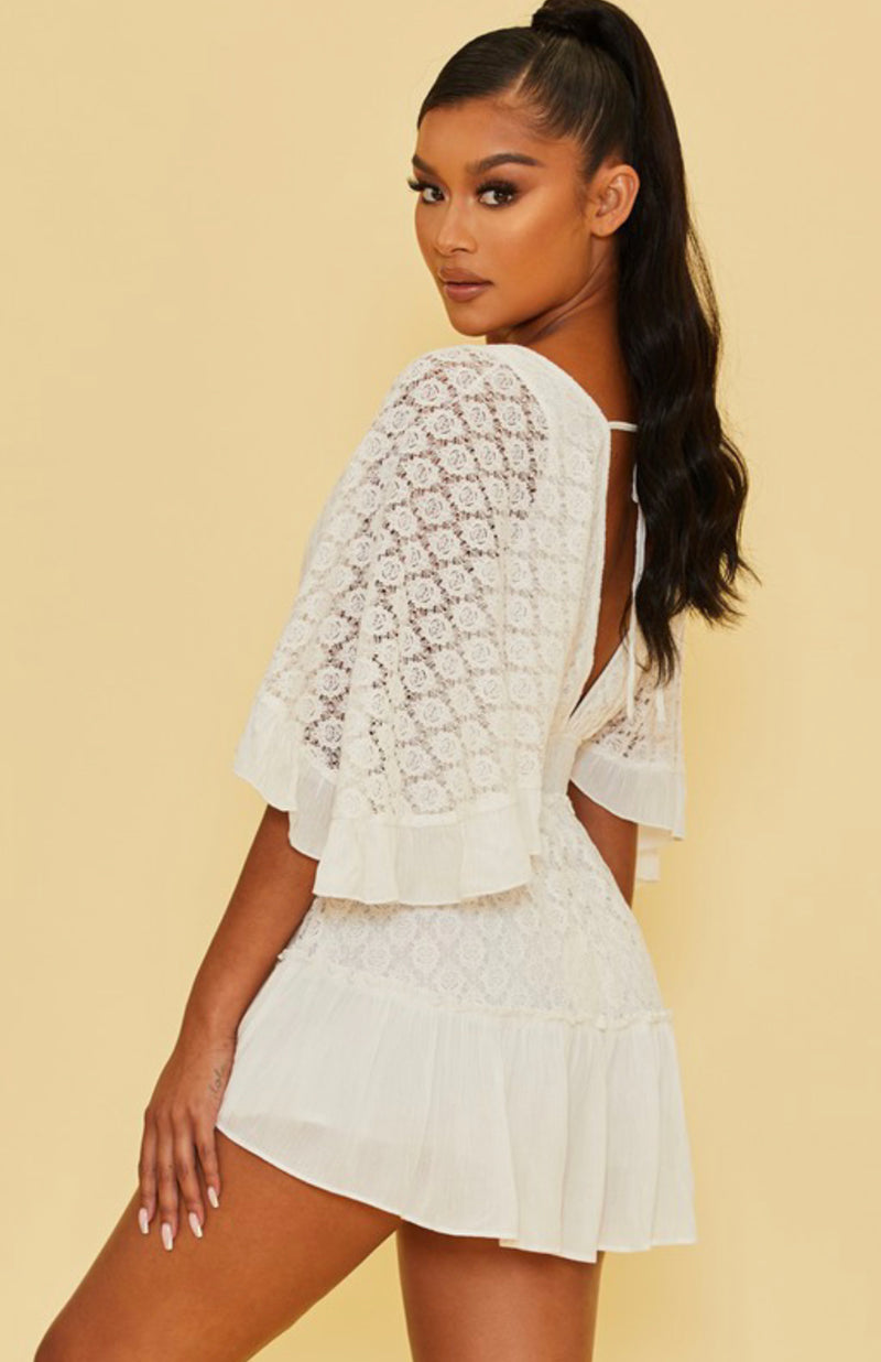 Lace Button Detail Romper