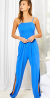Smocked Top Side Pocket Side Open Slit Jumpsuit
