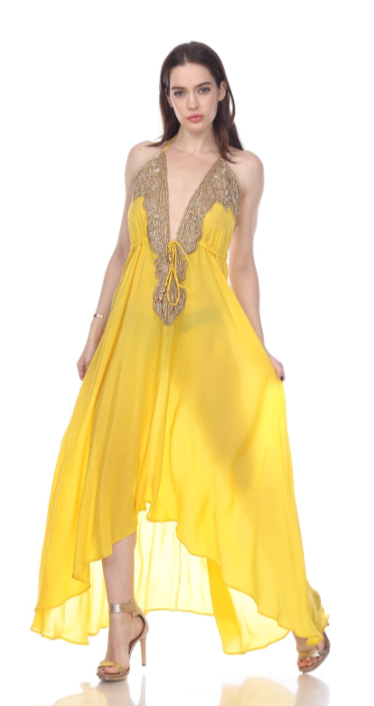 Sol Gold Beads Scarf Dress