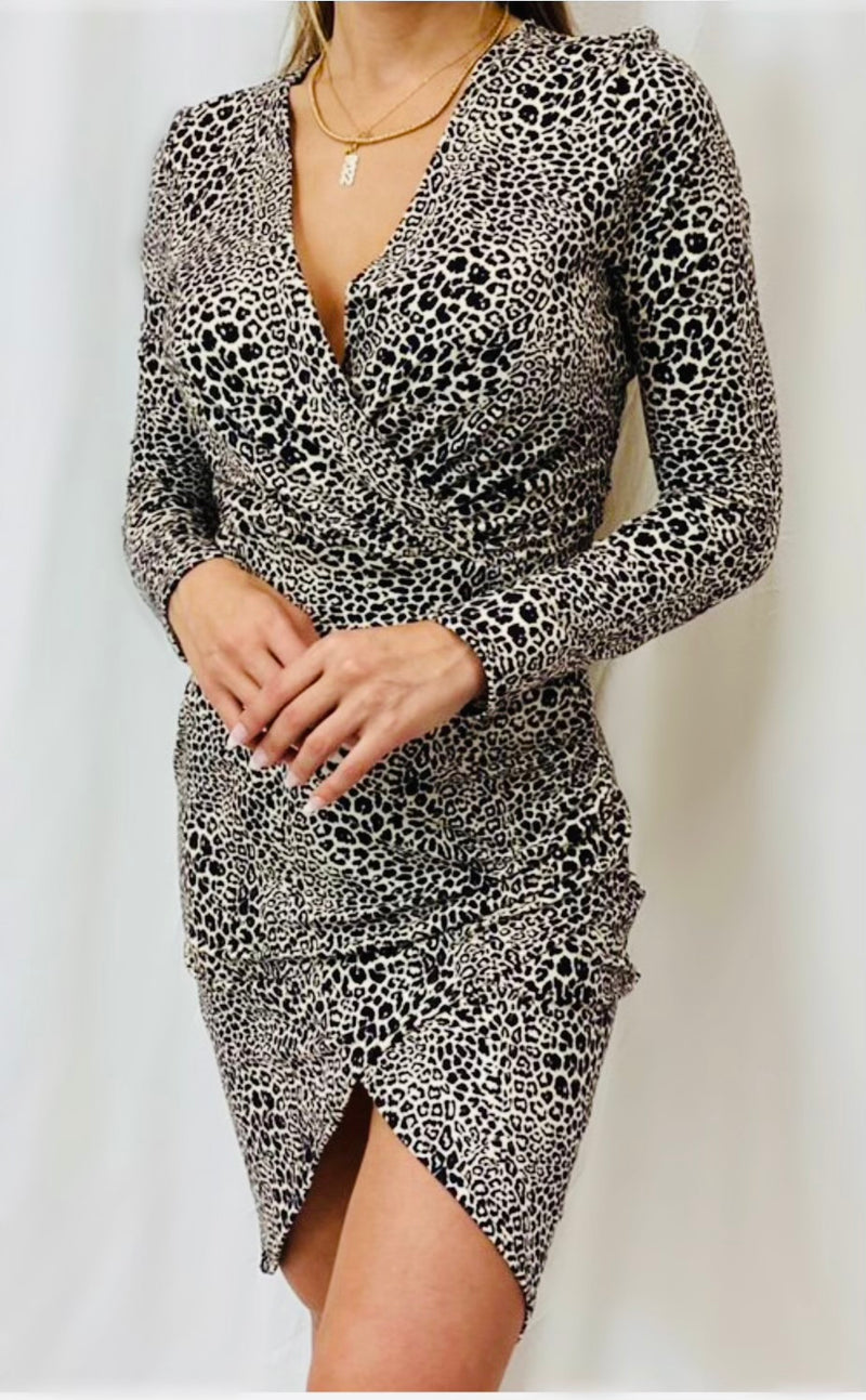 Jersey Cheetah Print Wrap Dress