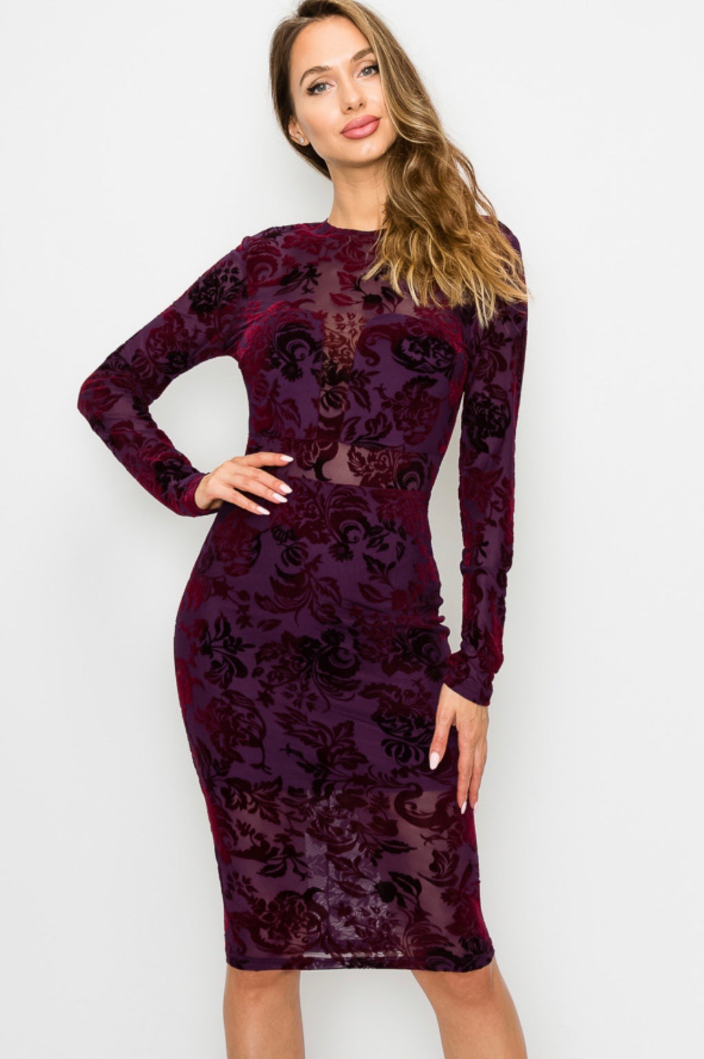 Floral velvet mesh layer dress