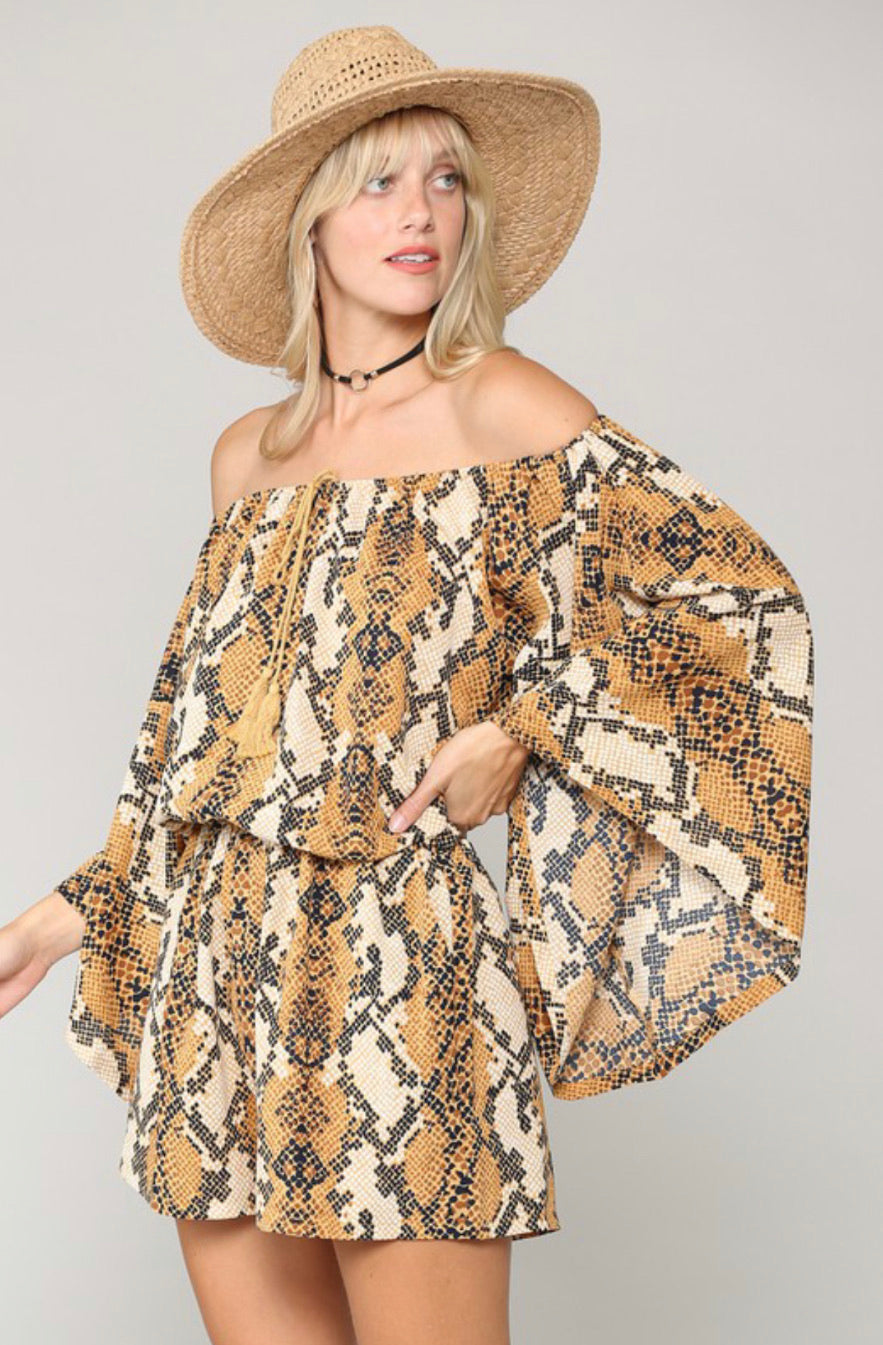 Snake print romper with flared sleeves
