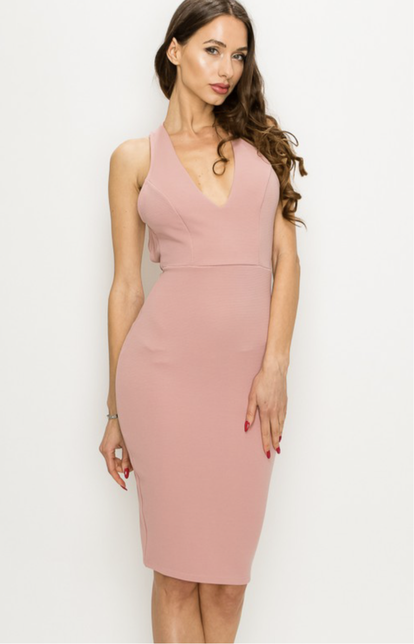 V-Neck Halter Open Back Dress