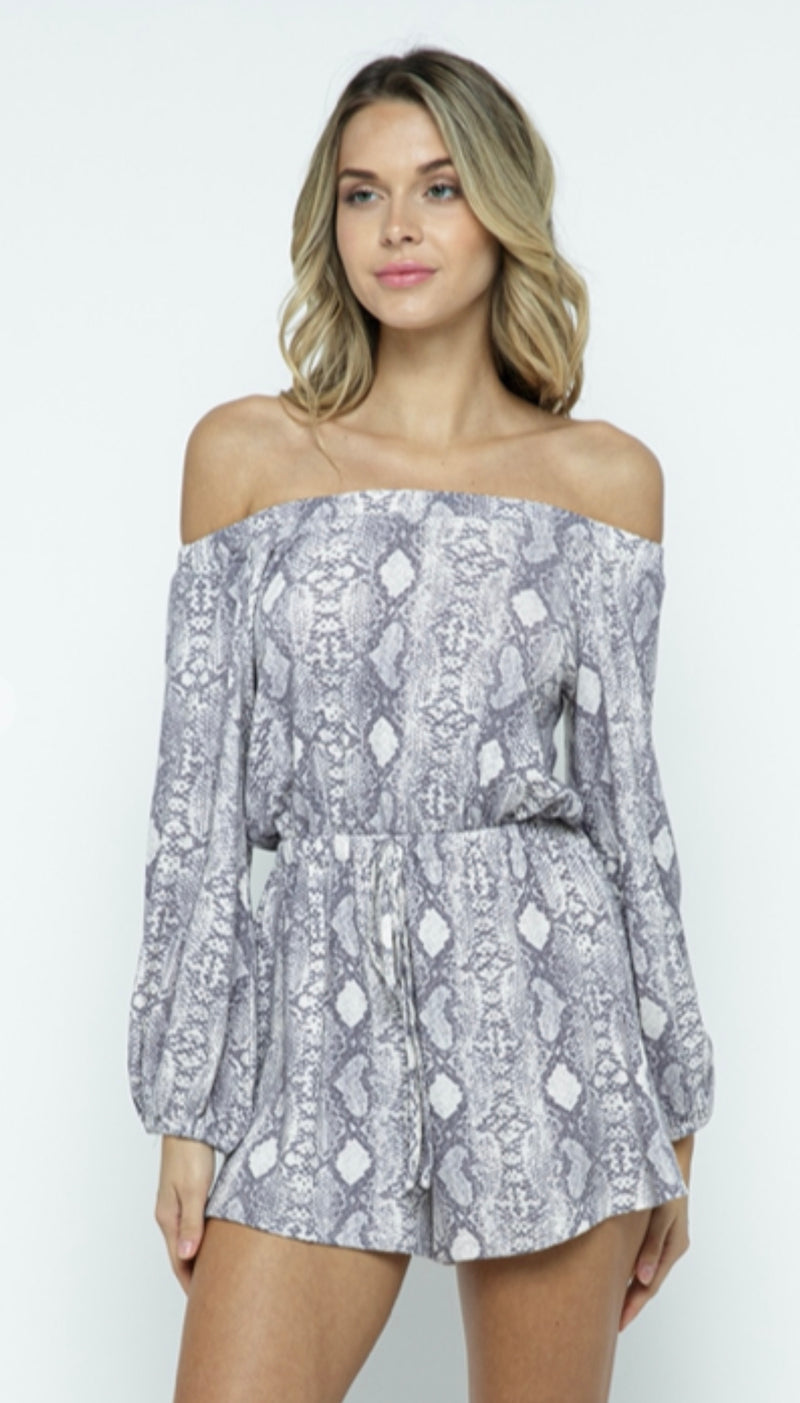 Snake Print Off the Shoulder Romper