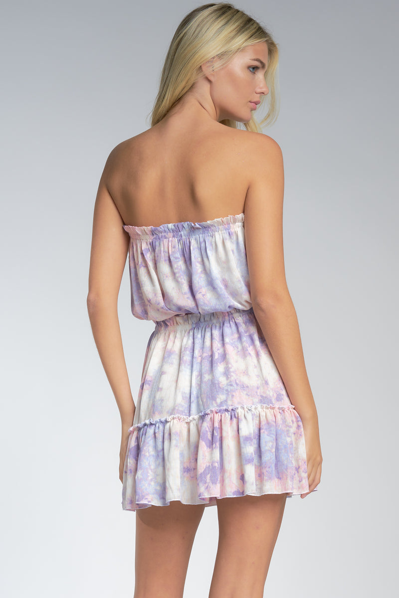 Lilac Tie Dye Strapless Dress