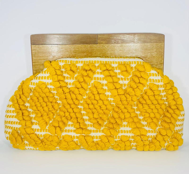 Fabria Knitted Wood Clutch