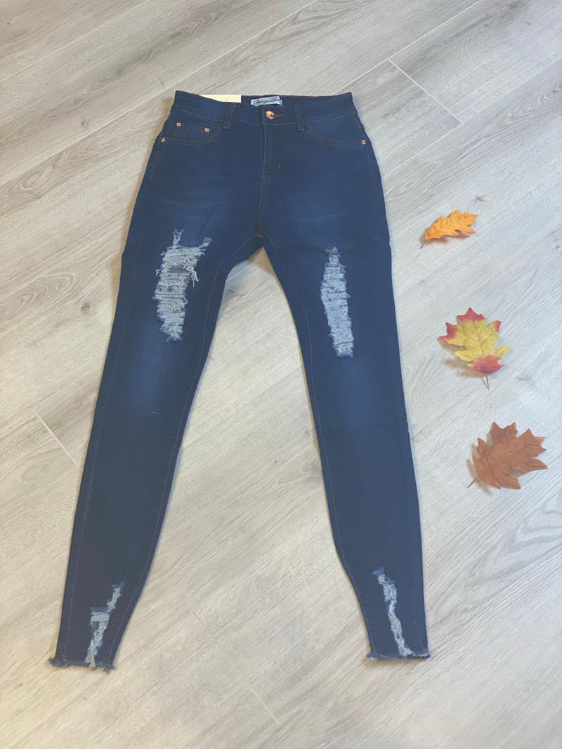 Navy High Stretch Ripped Skinny Jeans