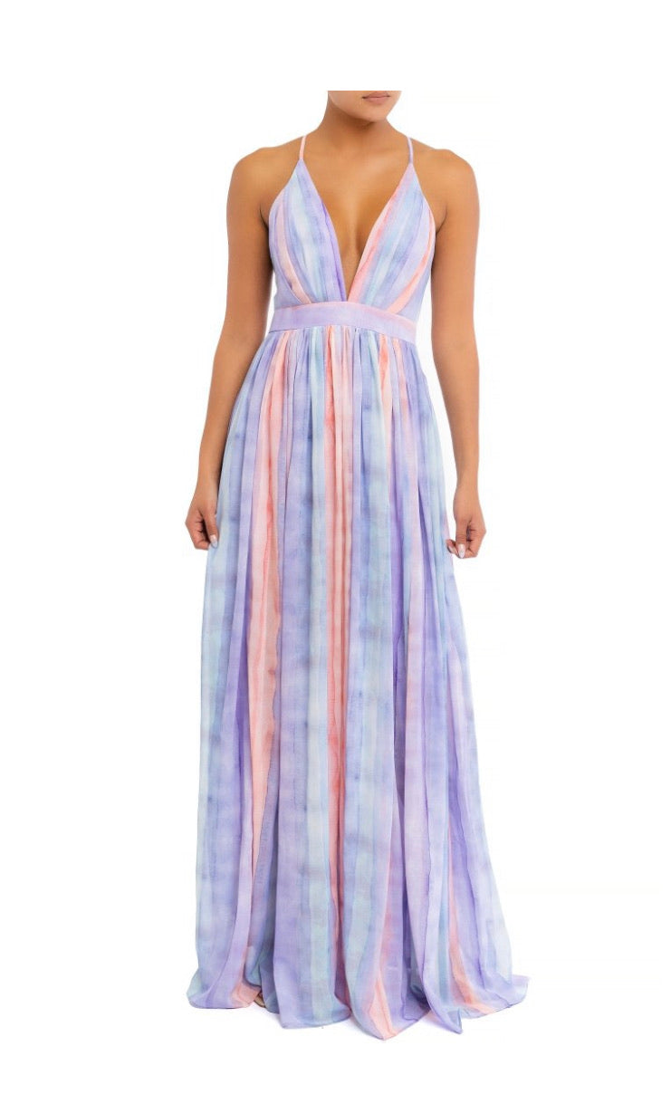 Pastel Stripe Maxi Dress