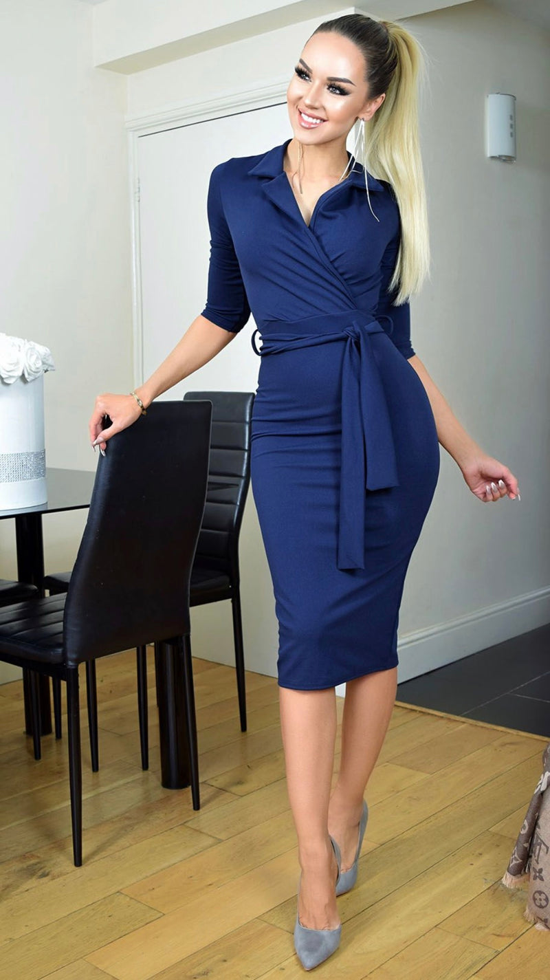 Nadia Collared Front Wrap Dress