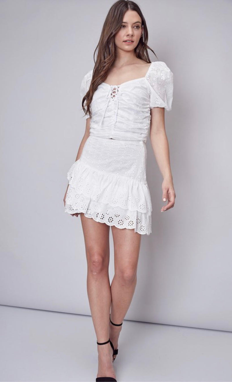 Stace Eyelet Ruffle Mini Skirt