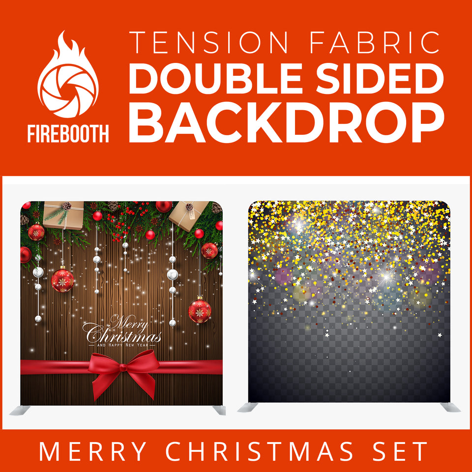 Christmas Set-11 Double Sided Square Tension Fabric Photo Booth Backdrop