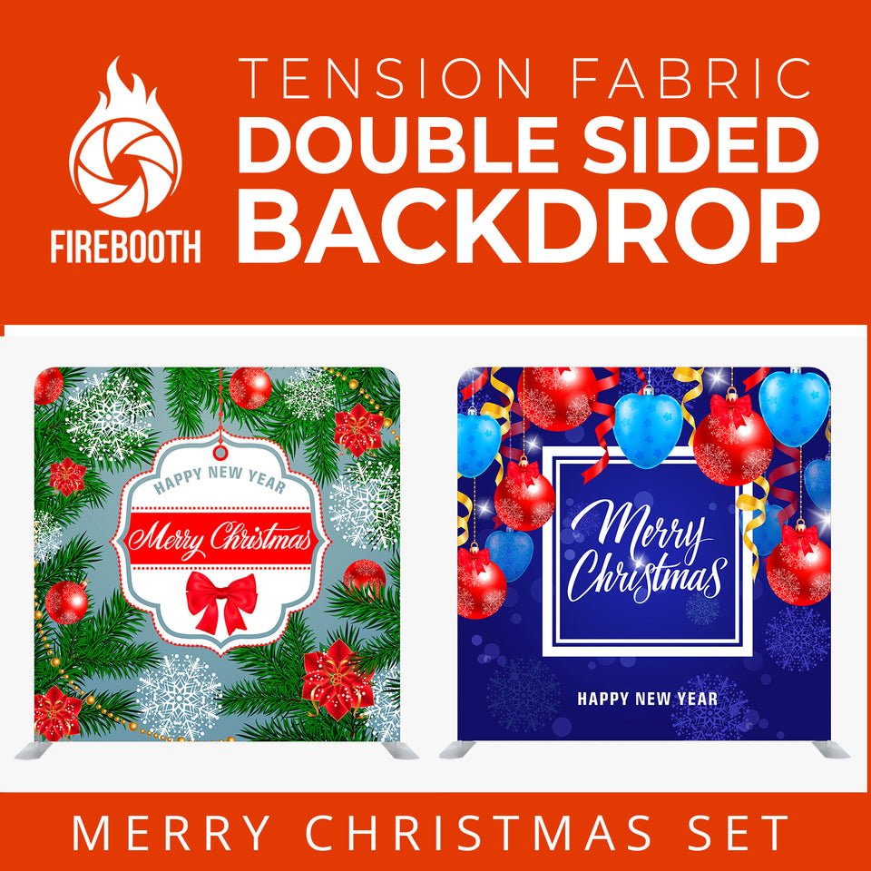 Christmas Set-20 Double Sided Square Tension Fabric Photo Booth Backdrop