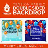 Christmas Set-21 Double Sided Square Tension Fabric Photo Booth Backdrop