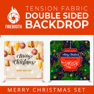 Christmas Set-22 Double Sided Square Tension Fabric Photo Booth Backdrop