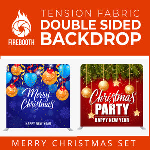 Christmas Set-23 Double Sided Square Tension Fabric Photo Booth Backdrop