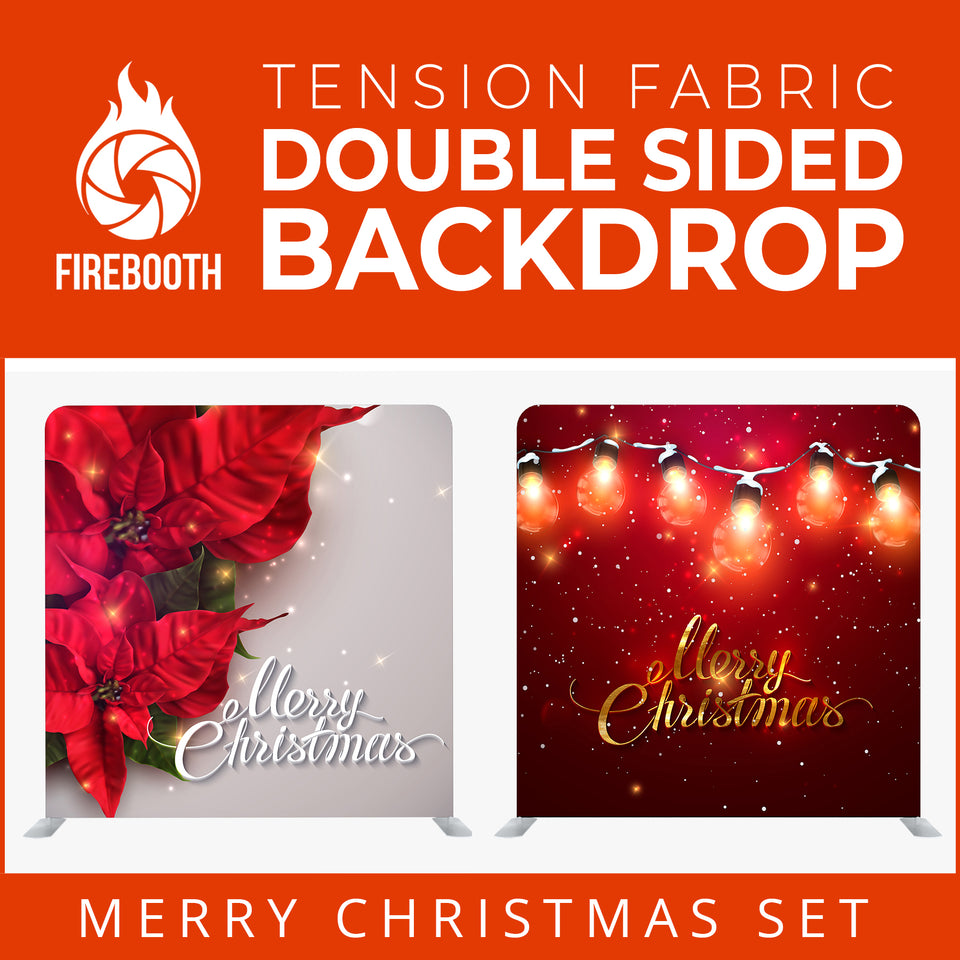 Merry Christmas Set26 Double Sided Tension Fabric Photo Booth Backdrop