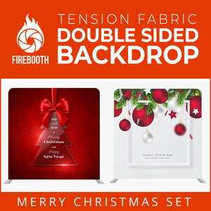 Merry Christmas Set28 Double Sided Tension Fabric Photo Booth Backdrop