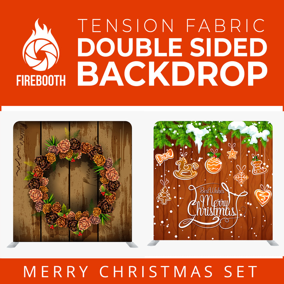 Christmas Set-27 Double Sided Square Tension Fabric Photo Booth Backdrop