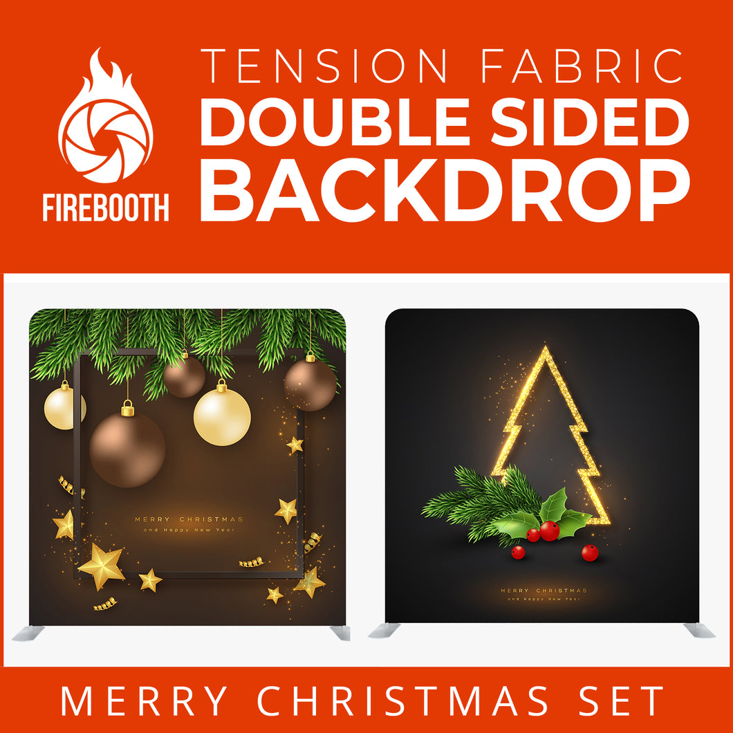Merry Christmas Set29 Double Sided Tension Fabric Photo Booth Backdrop