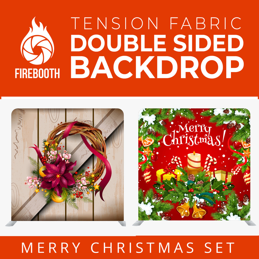 Christmas Set-28 Double Sided Square Tension Fabric Photo Booth Backdrop