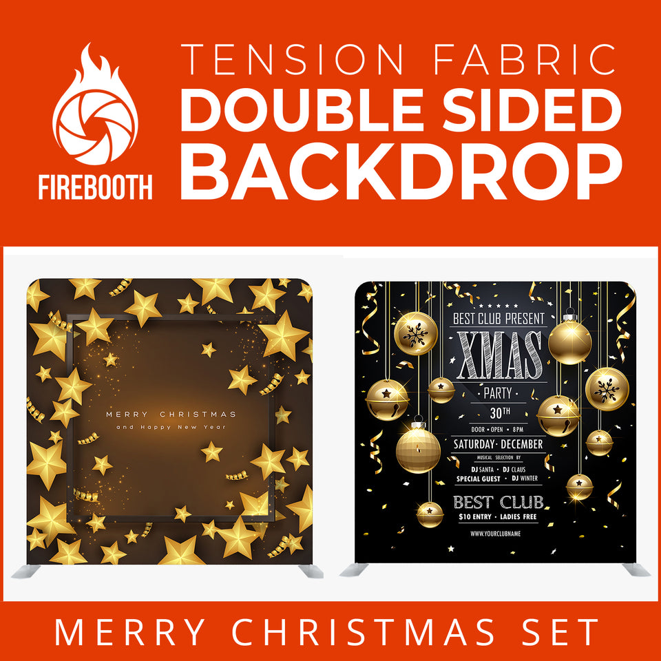 Merry Christmas Set31 Double Sided Tension Fabric Photo Booth Backdrop