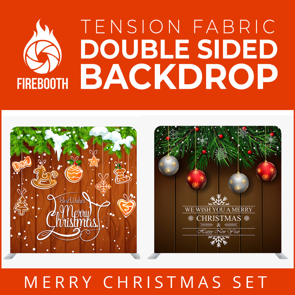 Christmas Set-31 Double Sided Square Tension Fabric Photo Booth Backdrop