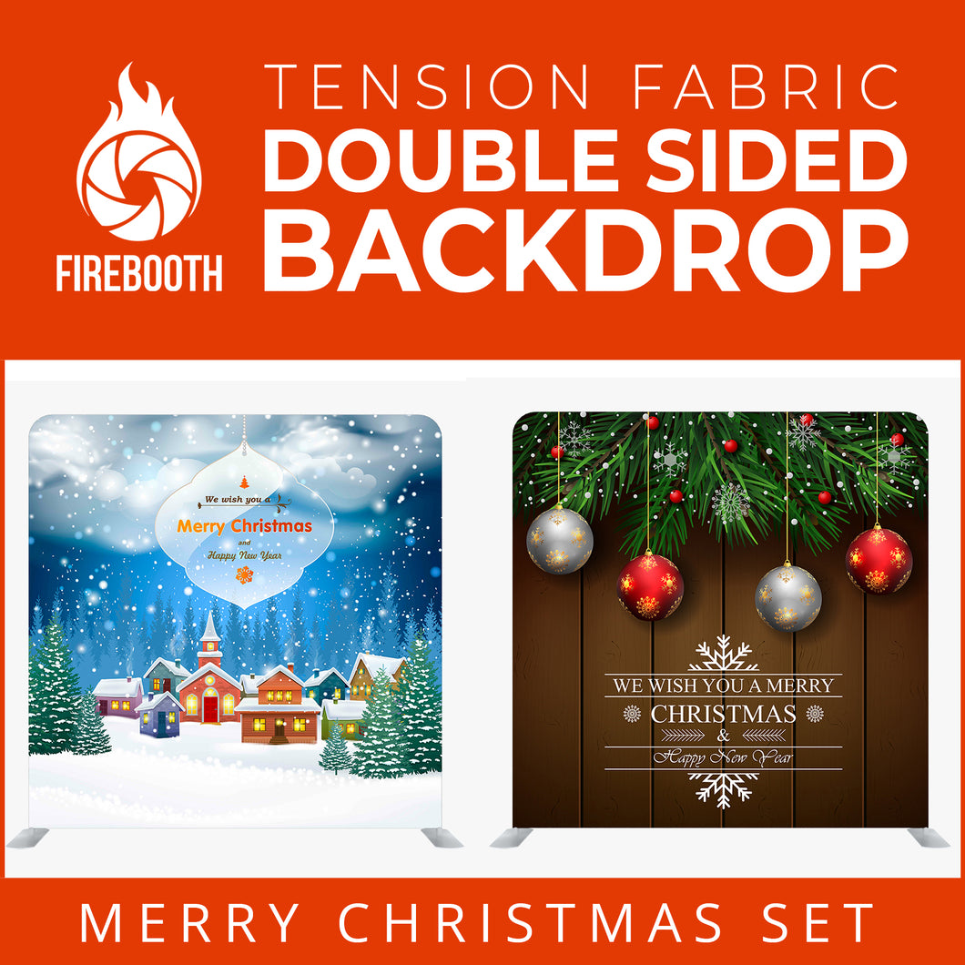 Christmas Set-32 Double Sided Square Tension Fabric Photo Booth Backdrop