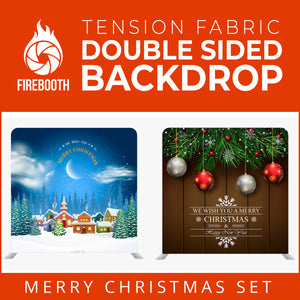 Christmas Set-33 Double Sided Square Tension Fabric Photo Booth Backdrop