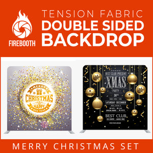Merry Christmas Set37 Double Sided Tension Fabric Photo Booth Backdrop