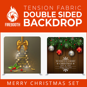 Christmas Set-35 Double Sided Square Tension Fabric Photo Booth Backdrop