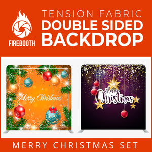 Merry Christmas Set40 Double Sided Tension Fabric Photo Booth Backdrop